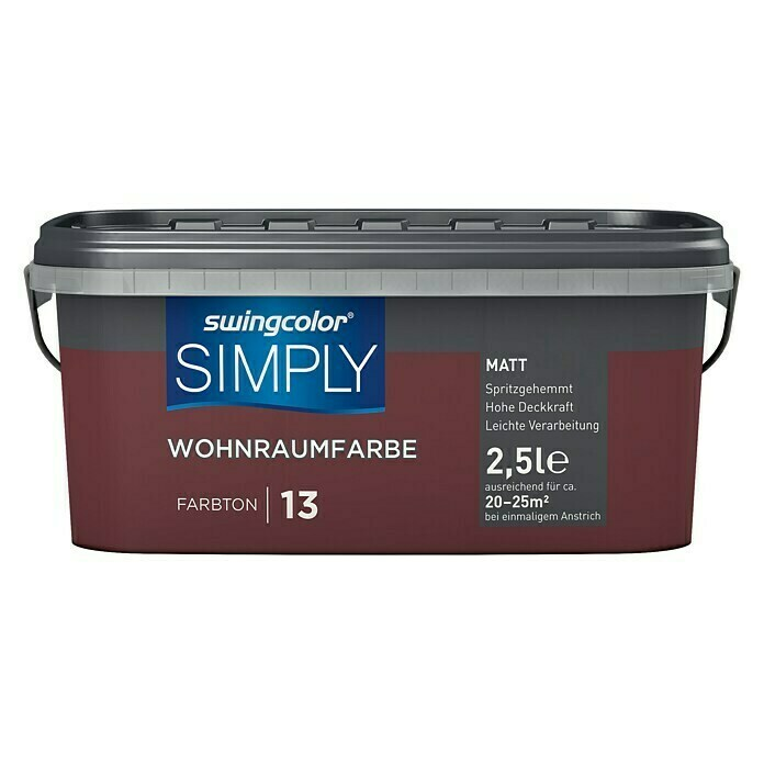 swingcolor Wandfarbe SIMPLY (Rot - Nr. 13, 2,5 l, Matt) -