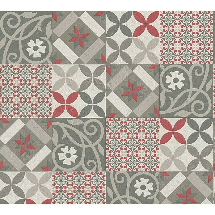 AS Creation New Life Vliestapete Patchwork-Fliese (Grau/Beige/Rot, Fliesenoptik, 10,05 x 0,53 m) -