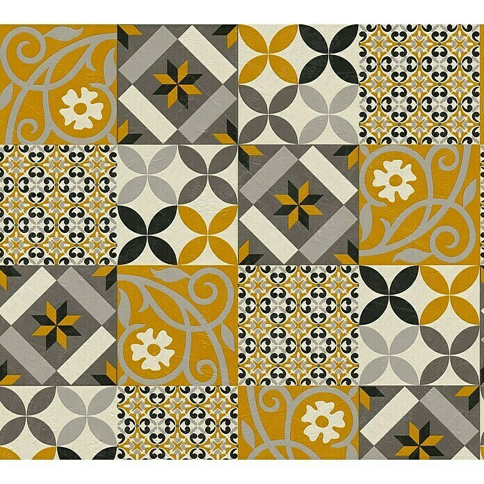 AS Creation New Life Vliestapete Patchwork-Fliese (Gold/Grau/Weiß, Fliesenoptik, 10,05 x 0,53 m) -